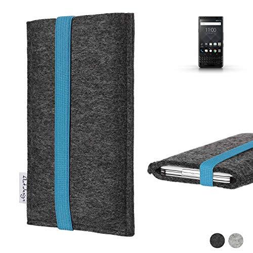 flat.design Handy Tasche Coimbra für BlackBerry KEYone Black Edition - Schutz Hülle Tasche Filz Made in Germany anthrazit türkis