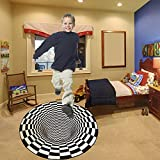 3D Vortex Optical Illusion Black and White Round Zebra Grid Area Rugs, Ultra Durable Cool Rugs Black Hole Non-Slip Visual Illusion Rugs Floor Carpet Doormat for Coffee Table Sofa Living Room Decor