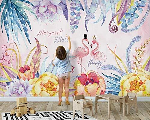 MGQSS Papel pintado Flamenco rosa Pintura de la pared Arte de la pared 3D Auto-adhesivo PVC Mural Comida y bebida Tienda de café Restaurante Tema Pared de fondo 3D Papel pintado Mur (W)350x(H)256 cm