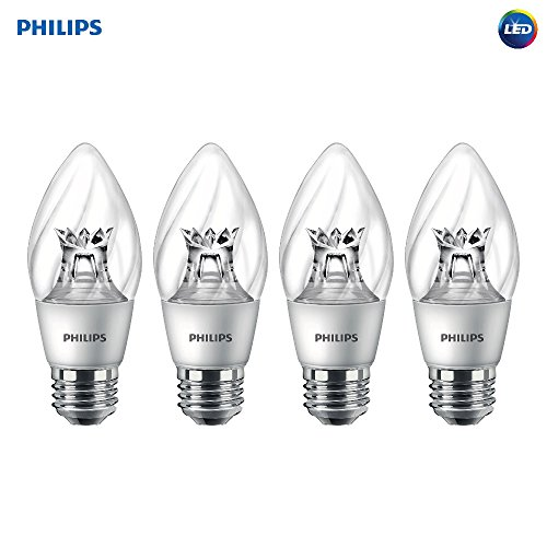 Philips 458620 Equivalent Dimmable F15 Decorative Candle LED Light Bulb with Warm Glow Effect (4 Pack), 60W