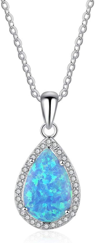 Classic bluee Opalt Eardrop Pendant Necklace for Women Water Drop Luxury 925 Sterling Silver Zircon Fine Jewelry