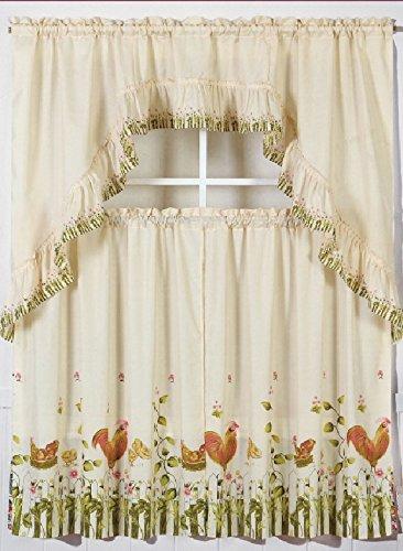 Jasmine Linen 3-Piece Printed Kitchen Curtain Window Treatment Set Curtain Tier (Rooster-1)