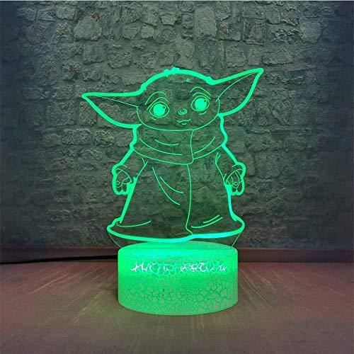 YOUPING Lámpara de ilusión 3D llevó la luz de la noche del bebé Yoda observando usted piensa expresión divertida Star Wars Maestro Yoda El Mandaloriano Encantador Niños de dibujos animados Lencería