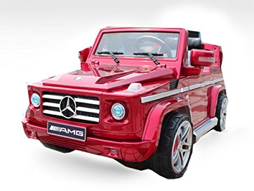 Lizenz Kinderfahrzeug Mercedes Benz G55 AMG Jeep SUV mit 2X 35W Motor Kinderauto Elektroauto Fernbedienung MP3 Anschluss in Rot