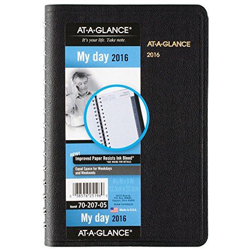 "AT-A-GLANCE Daily Appointment Book / Planner 2017, Wirebound, 4-7/8 x 8"", Black (70-207-05)"