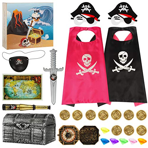 Pirate Cape Set Pirate Role Play Dress Up Set Pirate Accessories Kit Pirate Costume Cosplay Pretend Dress Up Set Halloween Christmas Birthday Costume Party for Kids Boy Girl