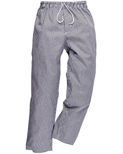 PORTWEST pantalon de cuisine coton élastiqué - - M -Bleu (Pied de poule)