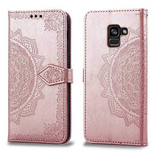 Bear Village Hülle für Galaxy A5 2018, PU Lederhülle Handyhülle für Samsung Galaxy A5 2018, Brieftasche Kratzfestes Magnet Handytasche mit Kartenfach, Roségold