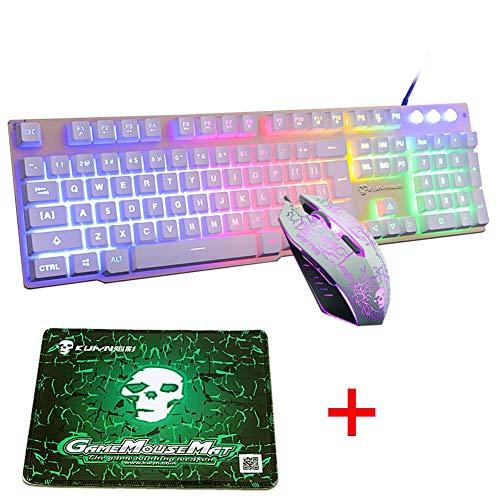 UrChoiceLtd T6 Regenbogen Hinterleuchtet USB Spiel Tastatur+2400DPI 6 Tasten Optisch Regenbogen LED Usb Spiel Maus +KOSTENLOS Spiel Mauspads 220*180*5mm Standardgröße (Leuchtender Schlüssel, weiß)