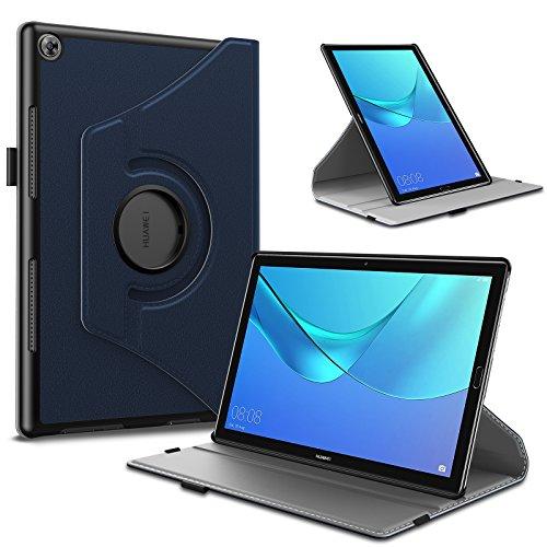 INFILAND Huawei MediaPad M5 10.8 Hülle, Slim PU-Lederne Schutzhülle 360 Degrees Rotating Cover für Huawei MediaPad M5 10.8 Pro/M5 10.8 2018 Modell Tablet PC(mit Auto Schlaf/Wach Funktion),Dunkleblau