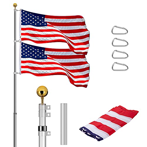 VIVOHOME 20 FT Telescoping Flag Pole Kit Outdoor Aluminum Extra Thick Heavy Duty with 3x5 Polyester American Flag and Golden Ball for Residential or Commercial Silver