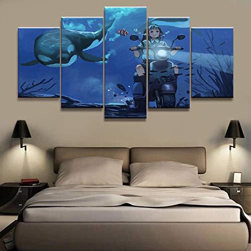 nobrand Leinwand Drucken In 5 Stücke U-Boot-Fahrt Wall Art Hd Home Decor Dekoration Poster (Rahmenlos) 200Cmx100Cm