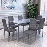 OUTDOOR DOIT High Gloss Dining Table Set With 6 PU Leather Chairs Morden Kitchen Dining Table Dining Room Furniture (Grey)