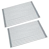 KES Over the Sink Dish Drying Rack 2 Packs Roll up 20.5' x 13' Dish Rack Sink Drying Rack Multipurpose Collapsible Dish Drying Mat for Kitchen, PDR500-GR-P2