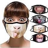 Jasinto 4 Pcs Baumwolle Mundschutz für Damen Herren, Anti-Staub Nasenschutz Halstuch Schlauchschal für Radfahren, Laufen, Waschbar Wiederverwendbar Nasen und Lippen Schutz, Lustige Tiere Drucken