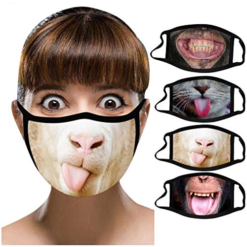 IRRIT 4PC Adult Funny Animal Printed face_mask, Washable Polyester Covers with Elastic Earloop for Coronàvịrụs Protectịon, Fοgproof Breathable Covering, for Women Men Outdoor Sports