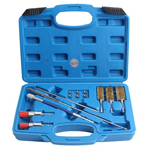 CCLIFE Injektor Reinigungsset Injektorsitz Injektorschacht Schacht Reinigung Werkzeug mit Injektor Stahldraht und Nylon Bürsten