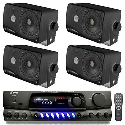 "PYLE PLMR24B 3.5"" 200W Outdoor Speakers 4 Pack with 100 Watt RMS Power, 4 Ohm impedance and PT260A 200W Stereo Theater Receiver 110V with 3 RCA inputs"