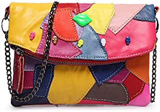 Adebie - New Real Women Messenger Bag Cow Split Leather Clutch Bag Chain Stitching Panelled Patchwork Ladies Lip Skull Crossbody Bag Multi []
