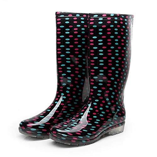 XIANGYANG Bedruckte Regenstiefel für Damen, Gepunktete Flache Stiefel mit hohen Absätzen für Frühling und Herbst,Redandbluedots,40