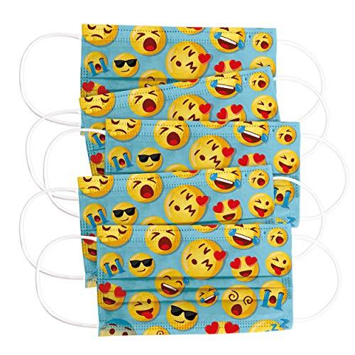 CRAZE 5er Set bunte Mundmaske für Kinder Einwegmaske Gesichtsmaske 3-lagig Maske mit Motiv Gesicht und Nase Kindermaske Sunny Faces Emoji 31834