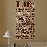 Stickers muraux pour décoration murale, inscription « Life is Beauty Dream Challenge Duty Promesse Love »