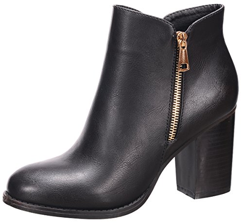 Nature Breeze Women's Closed Toe Zipper Chunky Stacked Block Heel Ankle Bootie,11 B(M) US,Black