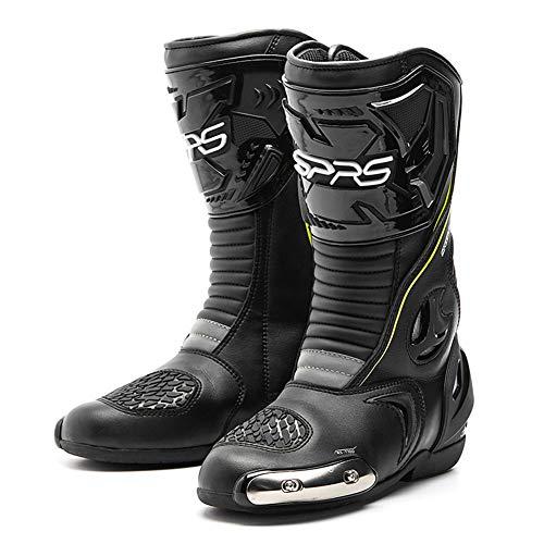 AIFXZ Herrenstiefel Wasserdichter Motorradschuh Racing Armored Shoes Fahrradschuhe Racing Knight Boots,Black-41