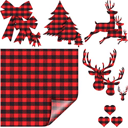 Christmas Buffalo Plaid Heat Transfer Vinyl Fabric Iron on Clothing Patches with Xmas Tree, Elk, Bow and Heart Patterns 15 Patches and 1 Sheet