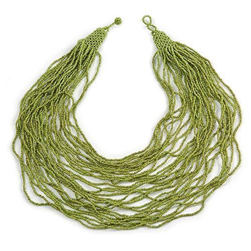 Avalaya - Collana massiccia multifilo a strati, con perline di vetro, 80 cm, colore: verde lime