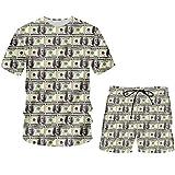 3D Print Dollar Funny Men's Set T Shirt and Shorts Paper Money Puzzle Tracksuit