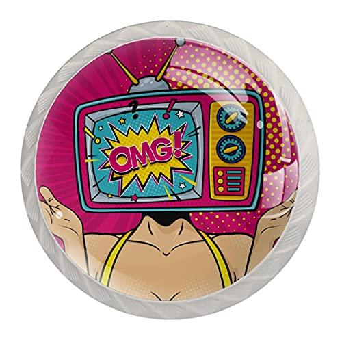 AITAI OMG Sorprised TV - Pomo redondo para armario (4 unidades)