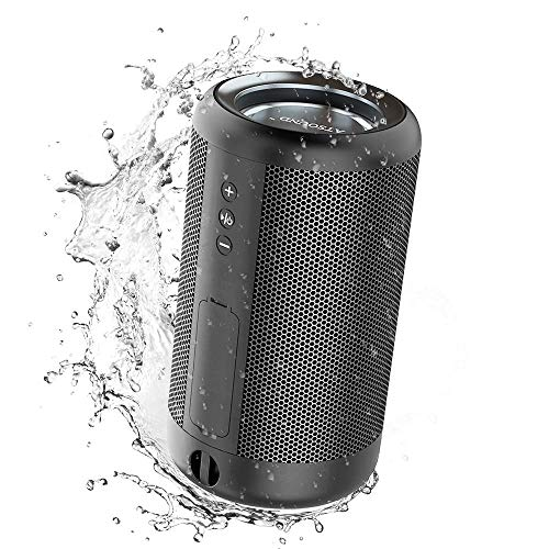 ATSOUND Portable Bluetooth Speaker, IP65 Waterproof Powerbank Bluetooth Wireless Speaker, Mini Stereo Bass Speaker for Outdoor Camping Black