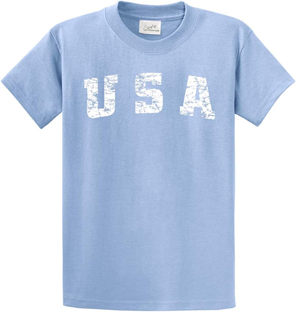 Joe's USA -Tall Vintage USA Logo Tee T-Shirts in Size X-Large Tall -XLT Light Blue