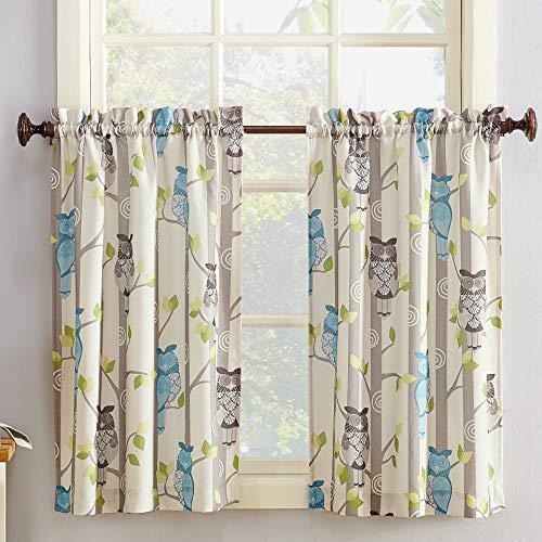 "No. 918 45085 Hoot Owl Print Kitchen Curtain Tier Pair, 56"" x 36"", Mocha Brown"