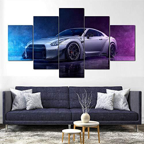 45Tdfc Lienzo de Pared Art Imagen para decoración del Coche Deportivo Niss GT-R 5 Piezas Pinturas Moderna Estirada y Enmarcado Arte Aceite