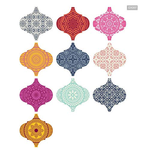 skwff Vloertegelsticker voor huisdecoratie, zelfklevende vloer woonkamer keuken badkamer Boheemse kristallen lantaarns Stickers Dikke waterdichte tegel muur Stickers