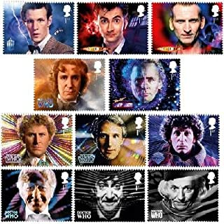 Doctor Who 50th Anniversary Royal Mail Official 11 Stamp Set featuring all eleven individual Doctors