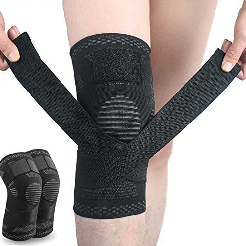 SIJIHUA Kniebandage, offene Kniescheibe, für Arthritis, Gelenkschmerzen, Meniskusschmerzen, Erholung, Fitnessstudio, Sport, Basketball, Laufen, Skifahren, verstellbare Kompression, Größe L, Schwarz