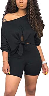 2 Piece Sets for Women - Sexy Long Sleeve Crop Tops + Skinny Shorts Two Piece Outfits