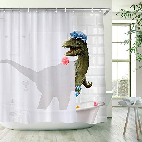 "RosieLily Dinosaur Shower Curtain, Kids Shower Curtain, Funny Shower Curtain, Cute Shower Curtain Set with 12 Hooks, Cool Shower Curtain for Bathroom Decor, 72""x72"""