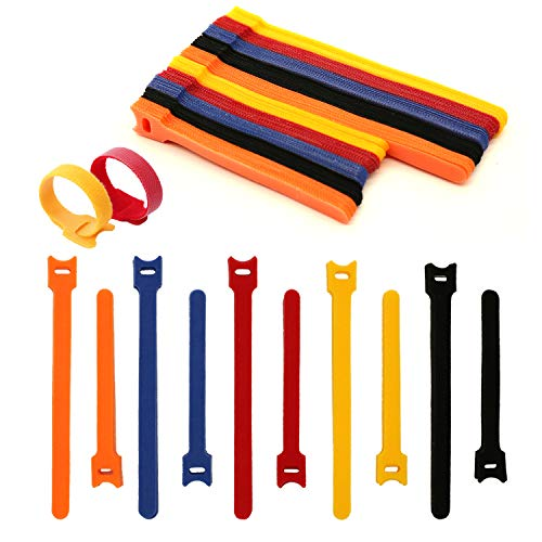 100PCS Reusable Cable Ties | 8-inch &6-inch cord ties | Multi-Purpose Hook&Loop cable management | Adjustable Multicoloured Cords Organizer for Computer/Laptop/TV/Electronics