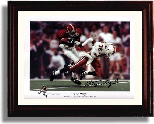 Framed Alabama Crimson Tide Football George Teague The Play Autograph Photo Print