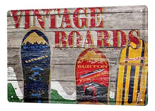 LEotiE SINCE 2004 Blechschild Dekoschild Küche Garage Nostalgie Wandschild Snowboards Berge Vintage 20X30 cm