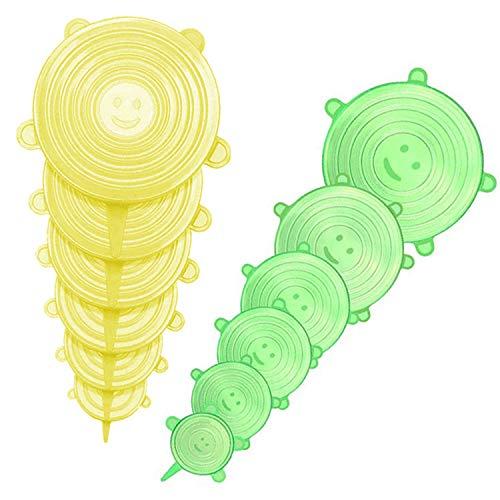 Silikondeckel Dehnbar,Silikondeckel Wiederverwendbar BPA Free,Stretch Deckel,Silikon-frischhalte-deckel,Abdeckung für Lebensmittel,Silikon Abdeckung für Schüsseln Dosen Töpfe (2)