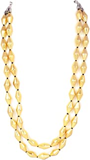 gold dholki beads necklace