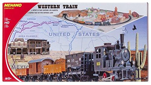 """Mehano T109 –Western Train with layout – Set Trenino Elettrico in Scala H0 con Plastico del Paesaggio """"Western""""."""