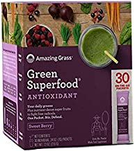 Amazing Grass green superfood sweet berry antioxidant natural organic smoothie | detox cleanse weight loss | elderberry, wheatgrass, and 7 super greens | 30 count packets