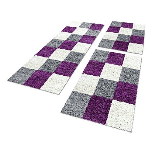 Shaggy Hochflor Teppich Carpet 3TLG Bettumrandung Läufer Set Schlafzimmer Flur, Farbe:Lila, Bettset:2x80x150+1x80x250