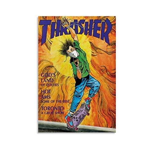 NDFGB Skateboard-Poster, 80er-Jahre, Thrasher-Magazin, Poster, dekoratives Gemälde, Leinwand, Wandkunst, Wohnzimmer, Poster, Schlafzimmer, Malerei, 30 x 45 cm
